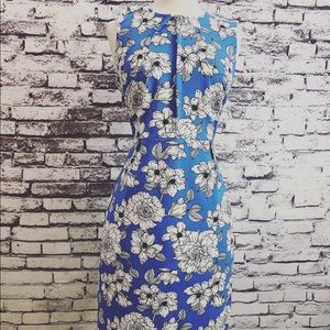 Banana Republic Blue White Floral sheath Dress